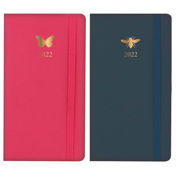 2022 Slim Week To View Gold Foiled Bee & Butterfly Design Leatherette Diary