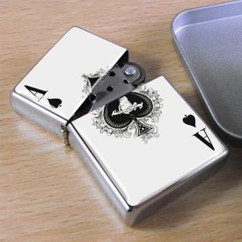 Playing Cards High Ace Card Design Metal Petrol Lighter