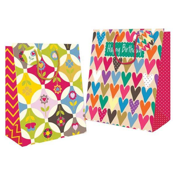 Hearts and Flowers Design Medium Gift Bag