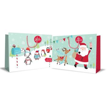 Jumbo Landscape Christmas Bag Cute Pastel Santa and Reindeer
