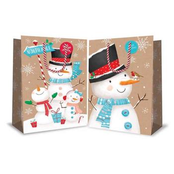 Super Jumbo Christmas Bag Cute Kraft Snowmen