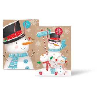 Medium Christmas Bag Cute Kraft Snowmen