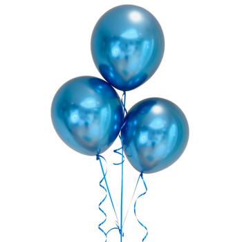 "Bag of 50 Metallic Blue Colour 12"" Latex Balloons"