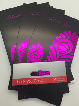 Pack of 8 Luxury Foiled Floral Thank You Cards