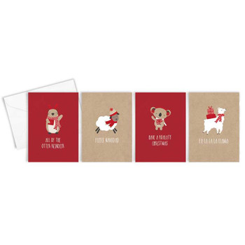 Box of 16 Cute Kraft Character Design Christmas Cards