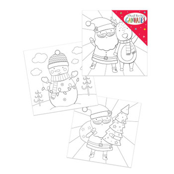 Pack of 3 Paint Your Own Christmas Mini Canvas