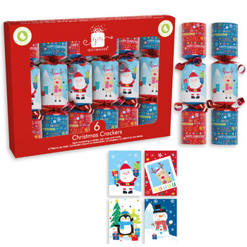 """Pack of 6 6"""" Santa and Friends Design Christmas Crackers"""