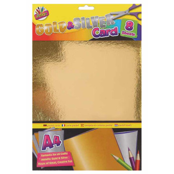 Pack of 8 Sheets of A4 Gold and Silver Card