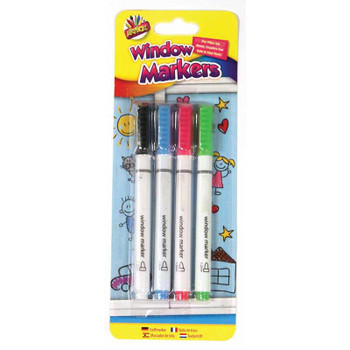 Pack of 4 Assorted Coloured Window Markers