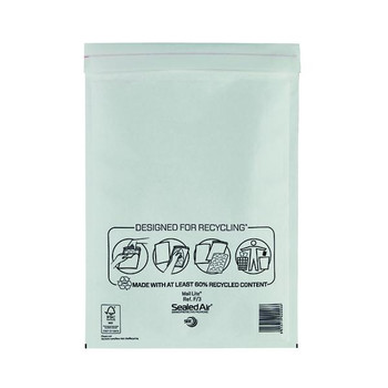 Pack of 50 220x330mm White Mail Lite Bubble Lined Postal Bags Size F/3