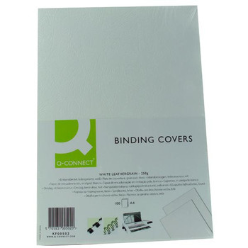 Pack of 100 A4 White Leathergrain Comb Binder Cover