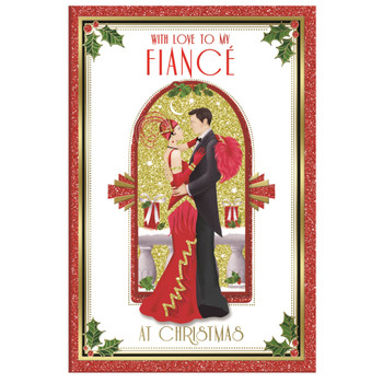 With Love To My Fiance Beautiful Couple Christmas Card