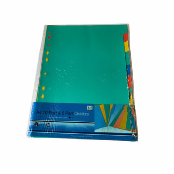 A4 10 Part and 5 Part Coloured Subject Dividers