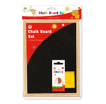 Chalkboard and Duster Set - 4 Chalks, Black Board and Duster