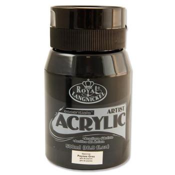Paynes Grey 500ml Essentials Acrylic Pot by Royal & Langnickel