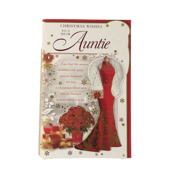 For Auntie Pretty Dress Design Christmas Card