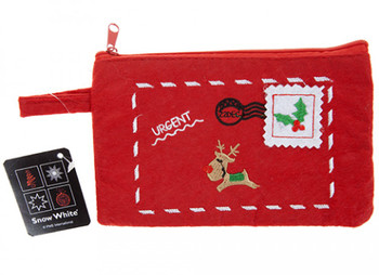 18cm x 11cm Christmas Embroidered Zip Purse With Hang Tag