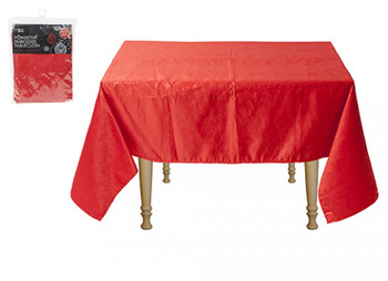Red Poinsettia Emobossed Heavy Duty Christmas Tablecloth