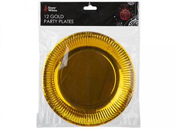 """Pack of 12 Gold Plated 9"""" Paper Plates"""
