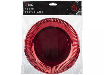 """Pack of 12 Red Plated 9"""" Paper Plates"""