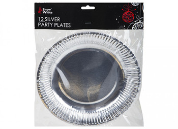 """Pack of 12 Silver Plated 9"""" Paper Plates"""
