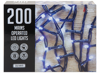 200 Multi Function Mains Operated Led Lights Cold White