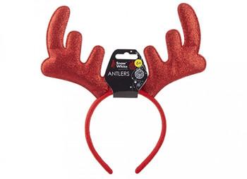 Red Sparkling Antler Christmas Headband