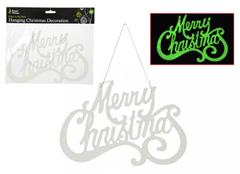 Glow In The Dark Merry Christmas Sign Hanging Plaque