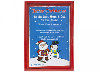 Happy Christmas 'Best Mum & Dad In The World' Certificate