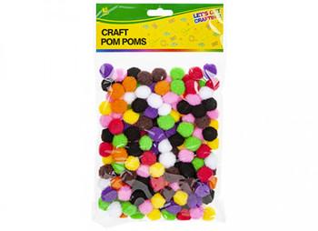 Pack of 180 2cm Craft Pom Poms
