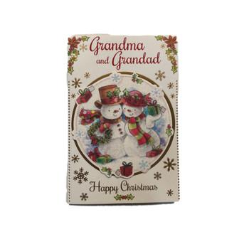 With Love To Grandma And Grandad Cute Couple Snowman Design Christmas Card