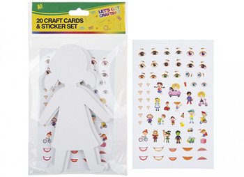 Pack of 20 Card Craft Boy or Girl Cutouts With Stickers