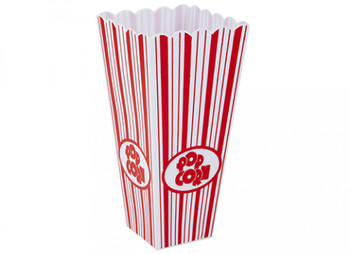 Tapered Square Plastic Popcorn Container with Red Print