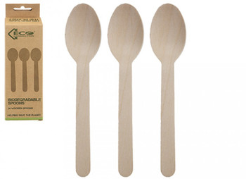 Pack of 24 Eco Connections Birchwood Spoons