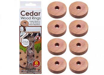 Pack of 8 Genuine Cedar Wood Rings