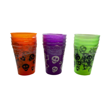 Pack of 4 8oz Plastic Glasses With Halloween Colour Print