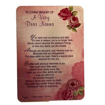 Nanna Graveside Wallet Card In Loving Memory Of Nanna