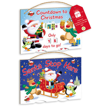 Countdown to Christmas And Santa Stop Here Spinner Plaque