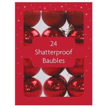 Pack of 24 Christmas Red Shatterproof Baubles