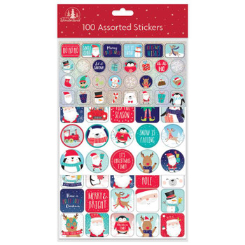 Pack of 100 Christmas Stickers Assorted