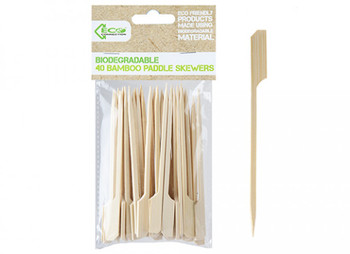 Pack of 40 Eco Connection Bamboo Paddle Skewers