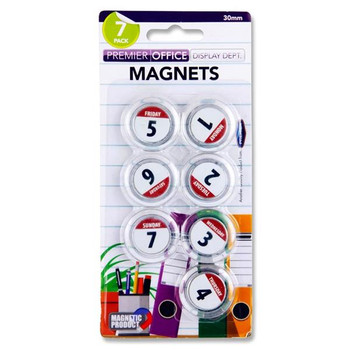 Premier Office Card 7 30Mm Round Magnets - Weekdays
