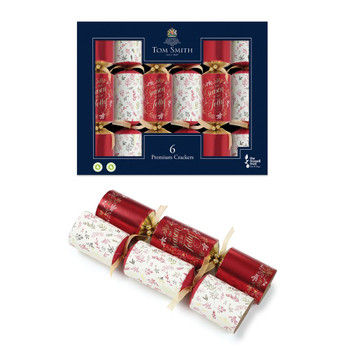 """Pack of 6 14"""" Premium Red and Gold Christmas Crackers"""