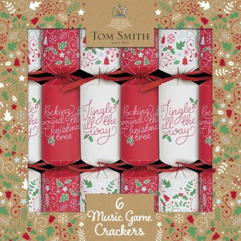 """Pack of 6 12"""" Red and White Music Game Christmas Crackers"""