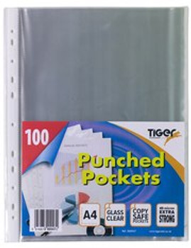 100 Tiger A4 Punched Pockets