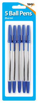Pack of 5 Blue Ball Point Pens