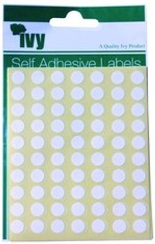 Pack of 490 White Circular Dots 8mm Stickers