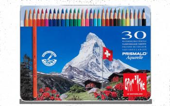 Caran d'Ache 30 Prismalo Aquarelle Colouring Pencils in Metal Tin
