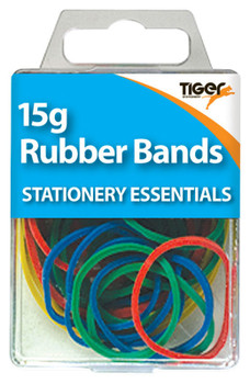 15g Coloured Rubber Bands in tub