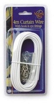 4m Curtain Wire with Hook and Eye Fittings